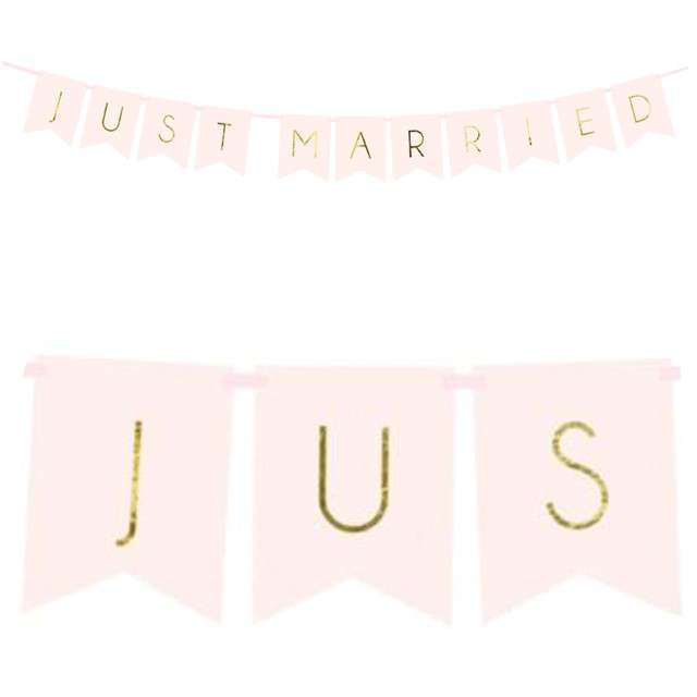 "Baner ""Just Married"", PartyDeco, różowy, 155 cm"