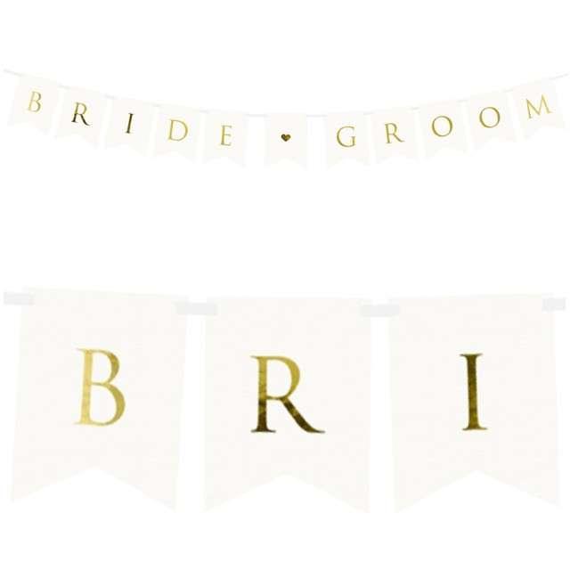 """Baner """"Bride Groom"""", PartyDeco, biały, 155 cm"""