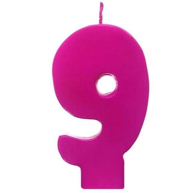 """Świeczka na tort """"9 Monte Róż"""", 6,5 cm, PartyDeco, różowa"""