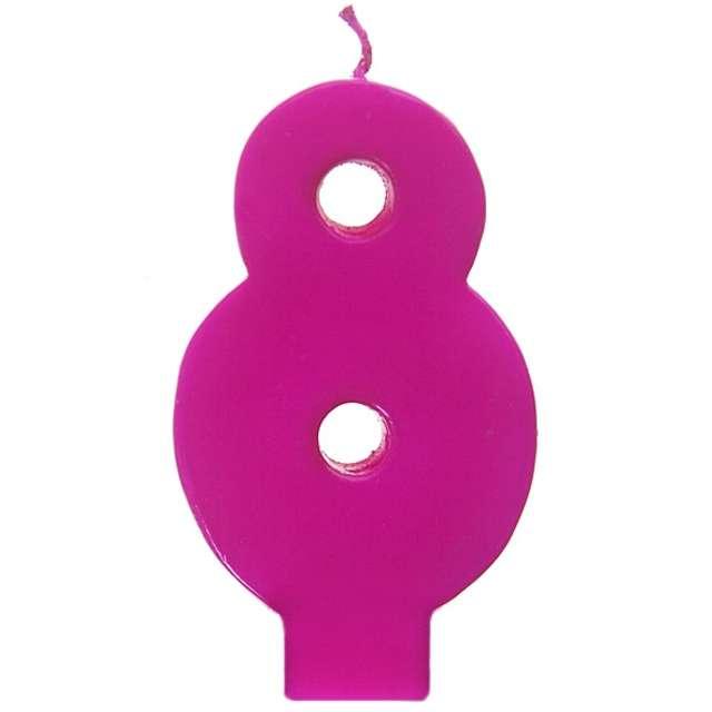 """Świeczka na tort """"8 Monte Róż"""", 6,5 cm, PartyDeco, różowa"""