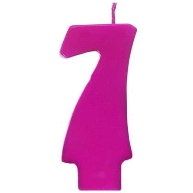 """Świeczka na tort """"7 Monte Róż"""", 6,5 cm, PartyDeco, różowa"""