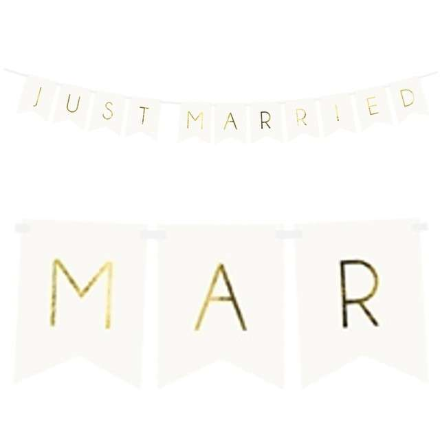 "Baner ""Just Married"", PartyDeco, biały, 155 cm"