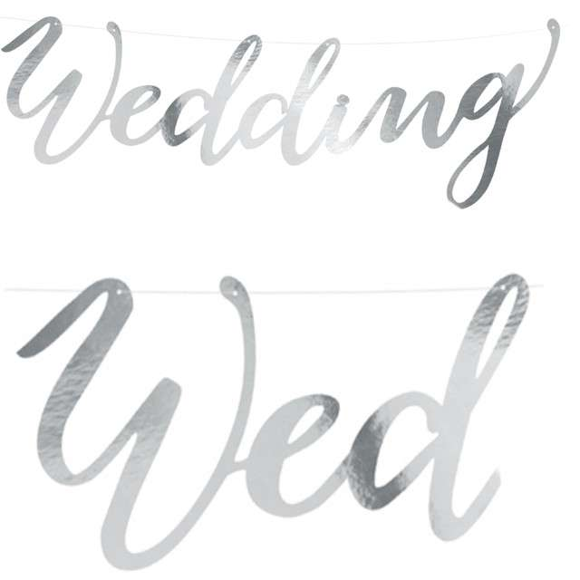 "Baner ""Weding"", PartyDeco, srebrny, 45 cm"