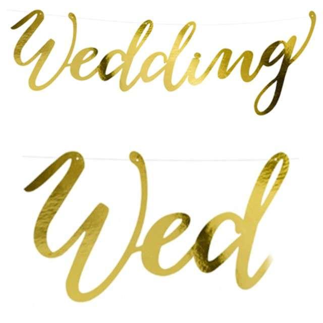 """Baner """"Weding"""", PartyDeco, złoty, 45 cm"""