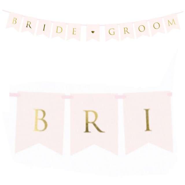 "Baner ""Bride Groom"", PartyDeco, różowy jasny, 155 cm"