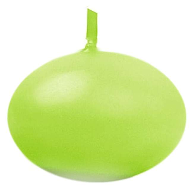 """Świeczka """"Dysk pływający"""", zielona jasna, PartyDeco, 40 mm, 50 szt"""