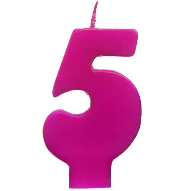 """Świeczka na tort """"5 Monte Róż"""", 6,5 cm, PartyDeco, różowa"""