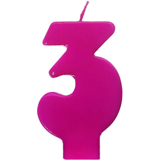 """Świeczka na tort """"3 Monte Róż"""", 6,5 cm, PartyDeco, różowa"""