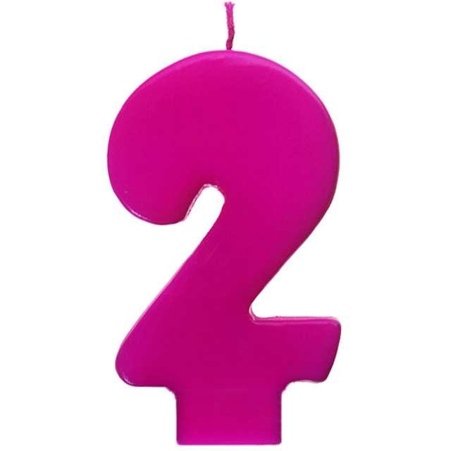 """Świeczka na tort """"2 Monte Róż"""", 6,5 cm, PartyDeco, różowa"""