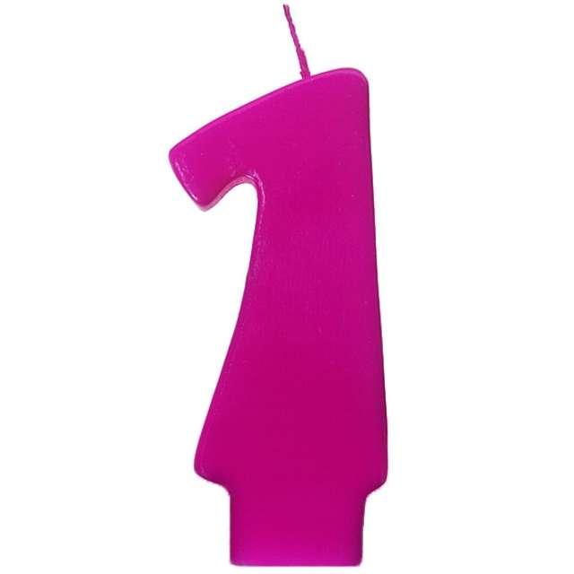 """Świeczka na tort """"1 Monte Róż"""", 6,5 cm, PartyDeco, różowa"""