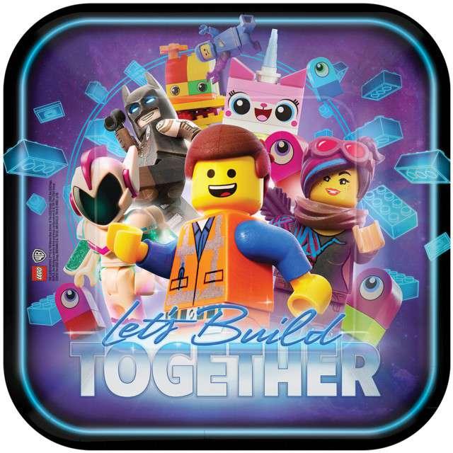 """Talerzyki papierowe """"Lego Movie 2"""", AMSCAN, 23 cm, 8 szt"""