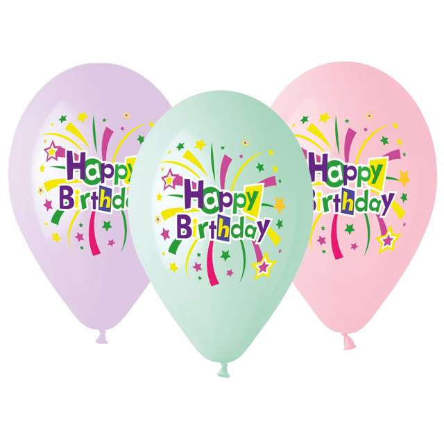 "Balony ""Happy Birthday"", mix, Gemar, 13"", 5 szt"