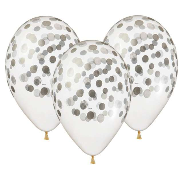 "Balony 13"",  ""Konfetti"", srebrne, transparentne,  5 szt"