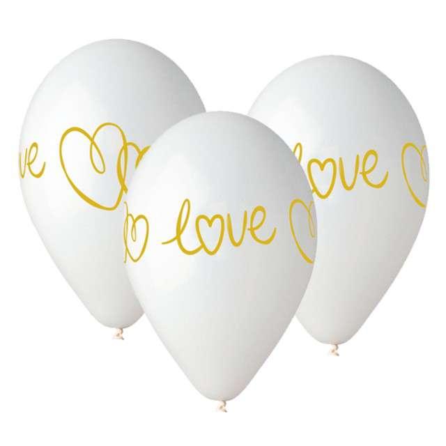 """Balony """"Love"""", białe, Gemar, 13"""", 5 szt"""