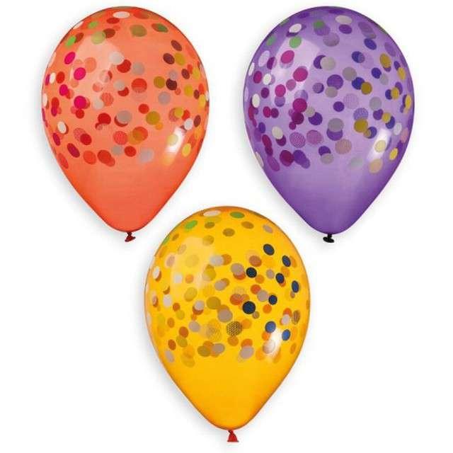 """Balony """"Konfetti"""", crystal mix, Gemar, 13"""", 5 szt"""