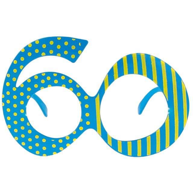 """Okulary party """"60 urodziny"""", niebieskie, GODAN"""