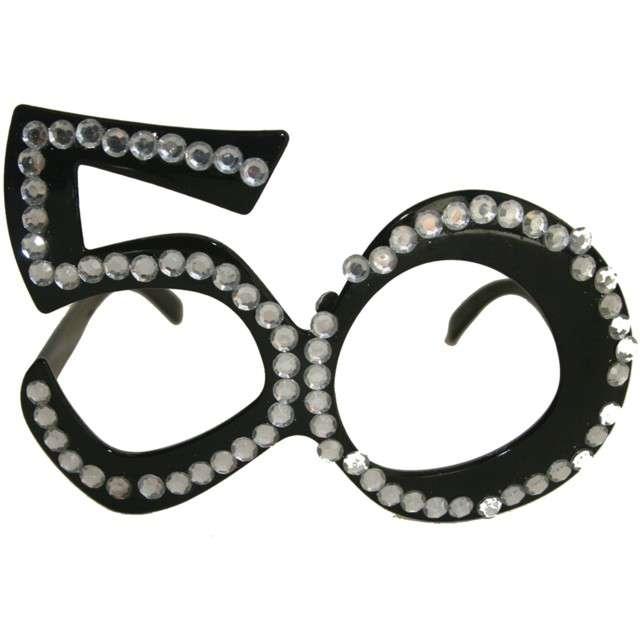 """Okulary party """"50 urodziny - Diamentowa Ramka"""", czarne, FOLAT"""