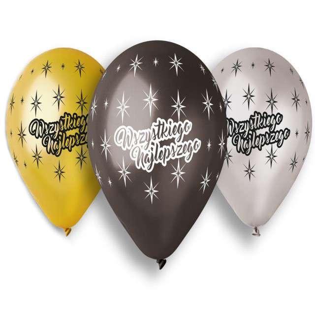 """Balony """"Wszystkiego Najlepszego"""", mix, Gemar, 13"""", 5 szt"""