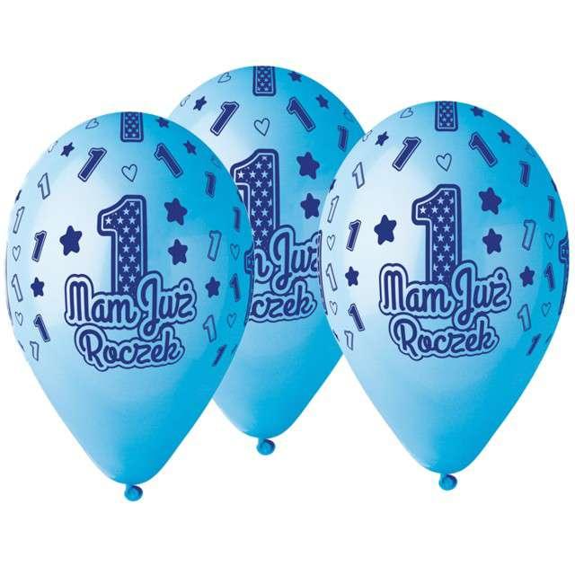 """Balony """"Mam już Roczek"""", niebieskie, Gemar, 13"""", 5 szt"""