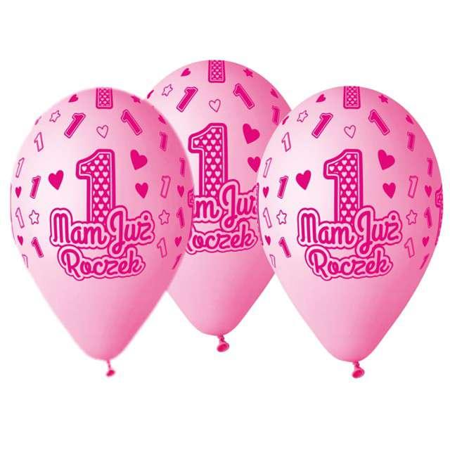"""Balony """"Mam już Roczek"""", różowe, Gemar, 13"""", 5 szt"""