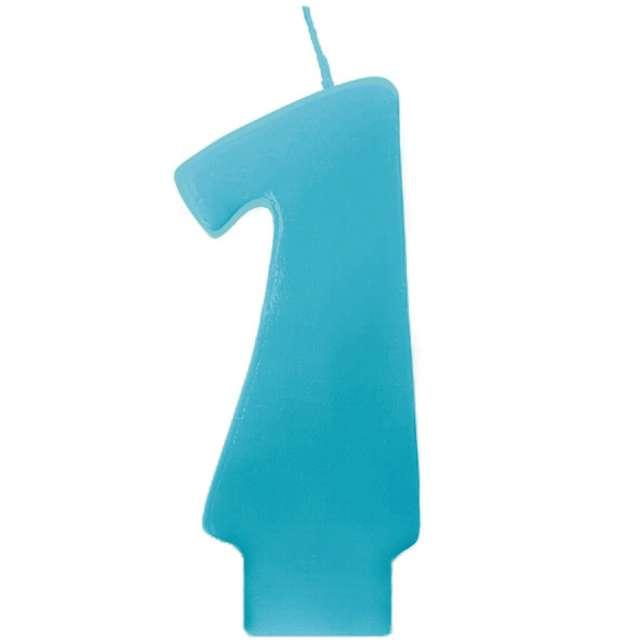 """Świeczka na tort """"1 Monte Błękit"""", 6,5 cm, PartyDeco, błękitna"""