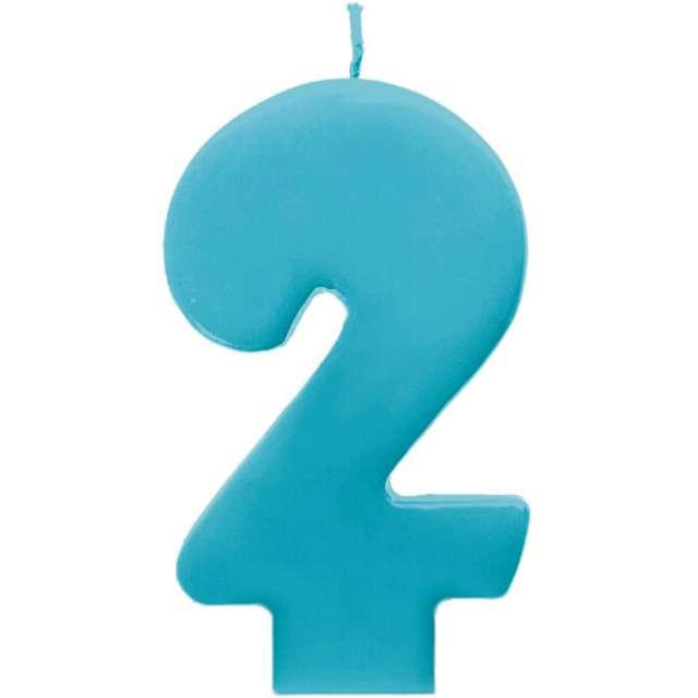 """Świeczka na tort """"2 Monte Błękit"""", 6,5 cm, PartyDeco, błękitna"""