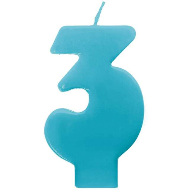 """Świeczka na tort """"3 Monte Błękit"""", 6,5 cm, PartyDeco, błękitna"""