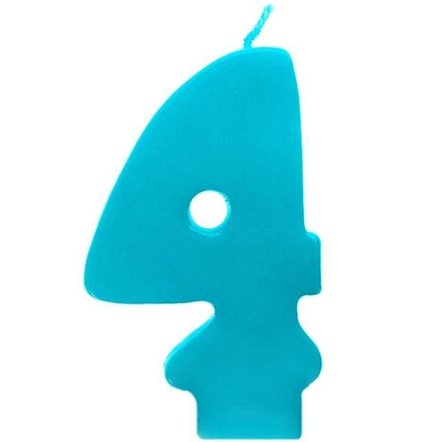 """Świeczka na tort """"4 Monte Błękit"""", 6,5 cm, PartyDeco, błękitna"""