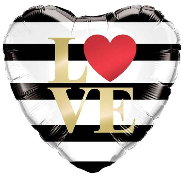 """Balon foliowy """"Serce - L love VE"""", paski, QUALATEX, 18"""" HRT"""