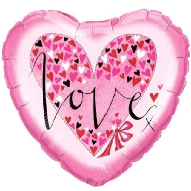 "Balon foliowy ""Serce - Love"", różowy, QUALATEX, 18"" HRT"