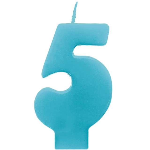 """Świeczka na tort """"5 Monte Błękit"""", 6,5 cm, PartyDeco, błękitna"""