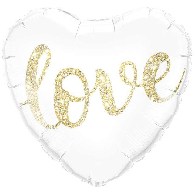"""Balon foliowy """"Serce - Love"""", złoty brokatowy QUALATEX, 18"""" HRT"""
