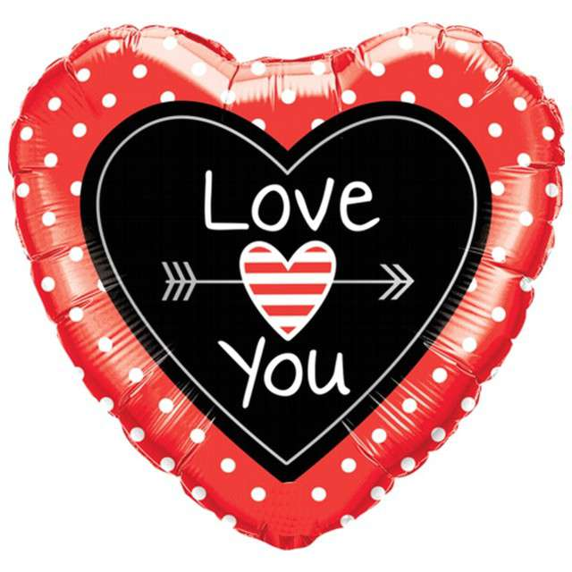 """Balon foliowy """"Serce - Love You"""", czerwony, QUALATEX, 18"""" HRT"""