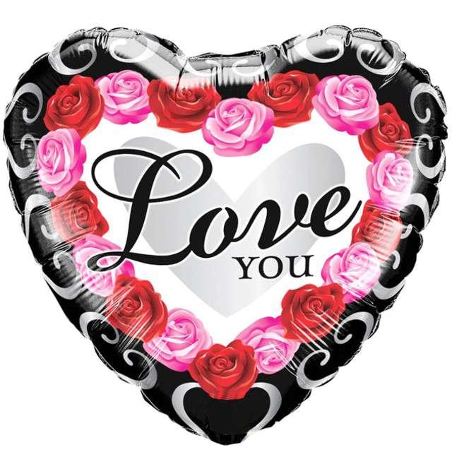 """Balon foliowy """"Serce - Love You - Red Rose """", czarno czerwony, QUALATEX, 18"""" HRT"""