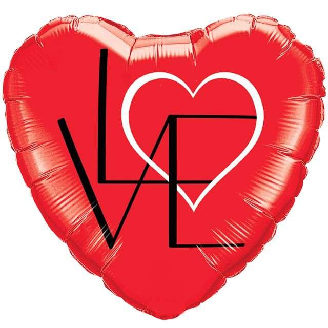 """Balon foliowy """"Serce - Love """",czerwony, QUALATEX, 18"""" HRT"""