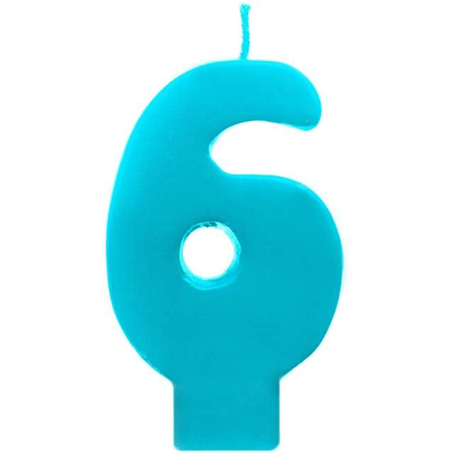 """Świeczka na tort """"6 Monte Błękit"""", 6,5 cm, PartyDeco, błękitna"""