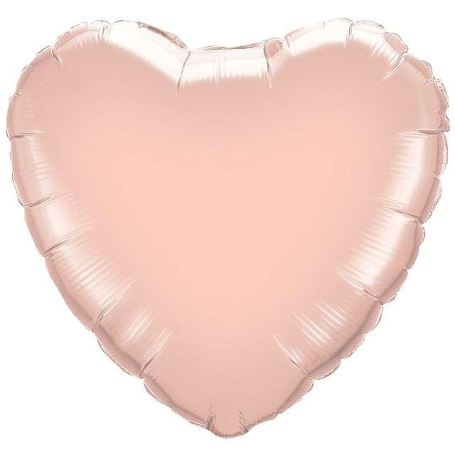 """Balon foliowy """"Serce"""", różowo złoty, QUALATEX, 18"""" HRT"""