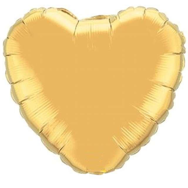 """Balon foliowy """"Serce"""", złoty, QUALATEX, 18"""" HRT"""