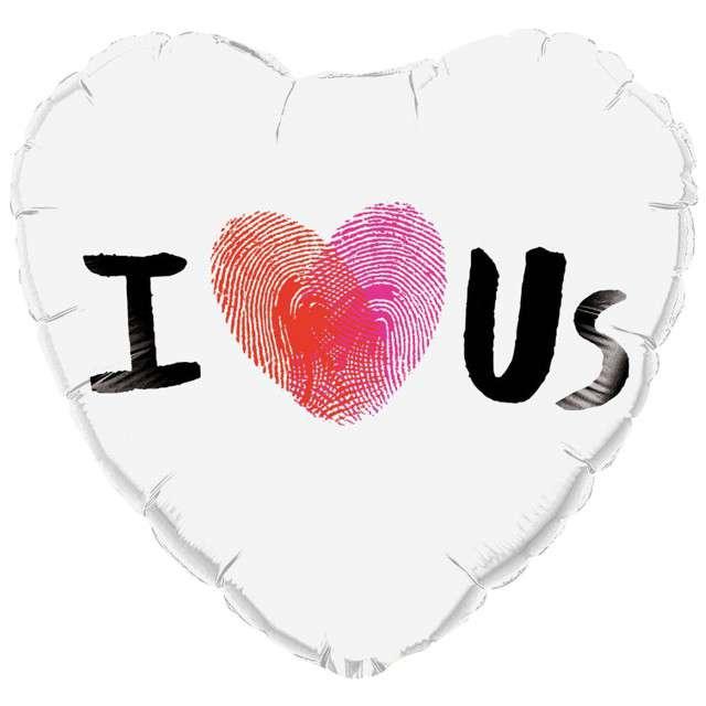 "Balon foliowy ""Serce - I Heart Us"", biały, QUALATEX, 18"" HRT"