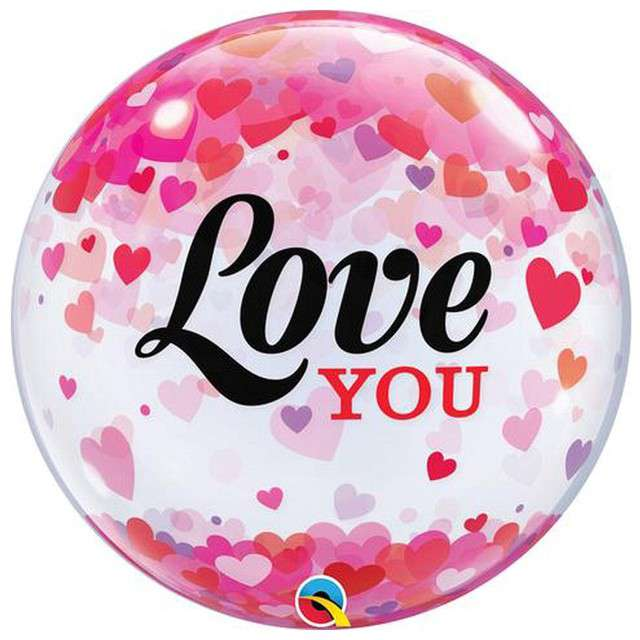 "Balon foliowy ""Love You Confetti Hearts"", Qualatex Bubbles, 22"""