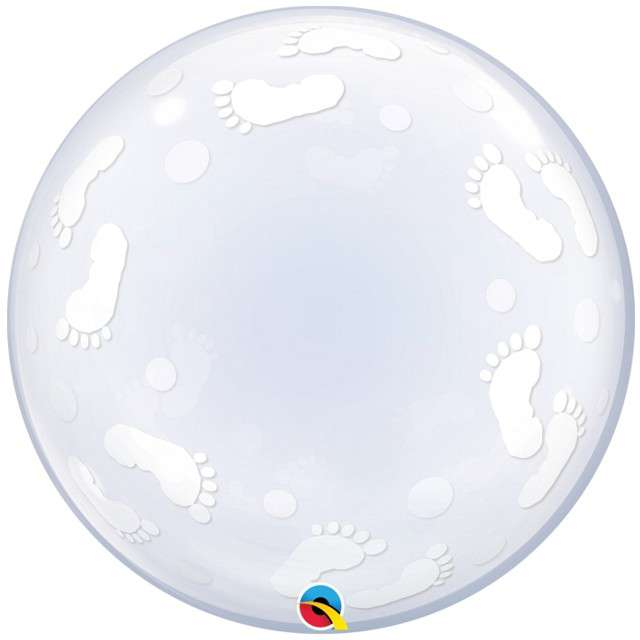"Balon foliowy ""Baby Footprints"", Qualatex Bubbles, 22"""