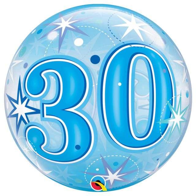 Balon foliowy 30 gwiazdki niebieskie Qualatex Bubbles 22