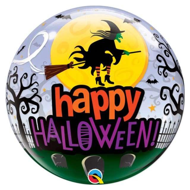 """Balon foliowy """"Happy Hallowen - Wiedźma"""", Qualatex Bubbles, 22"""""""
