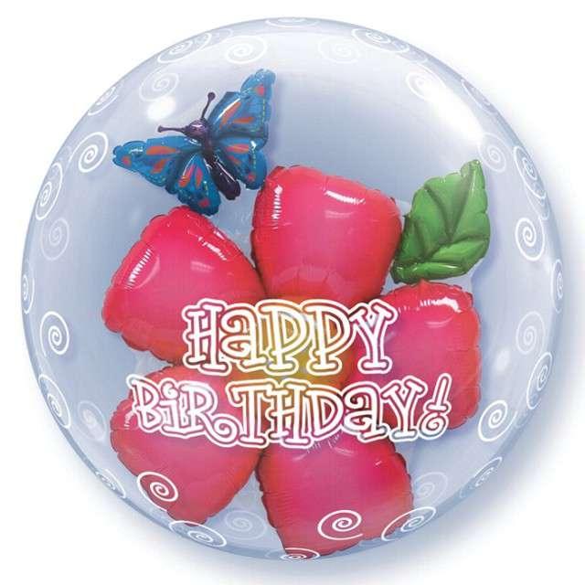 """Balon foliowy """"Kwiatek w balonie"""", Qualatex Bubbles, 24"""""""