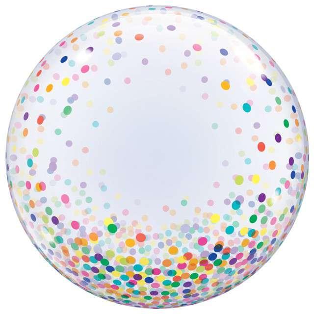"Balon foliowy ""Kolorowe Grochy"", Qualatex Bubbles, 24"""