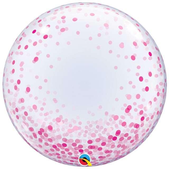 """Balon foliowy """"Różowe Grochy"""", Qualatex Bubbles, 24"""""""
