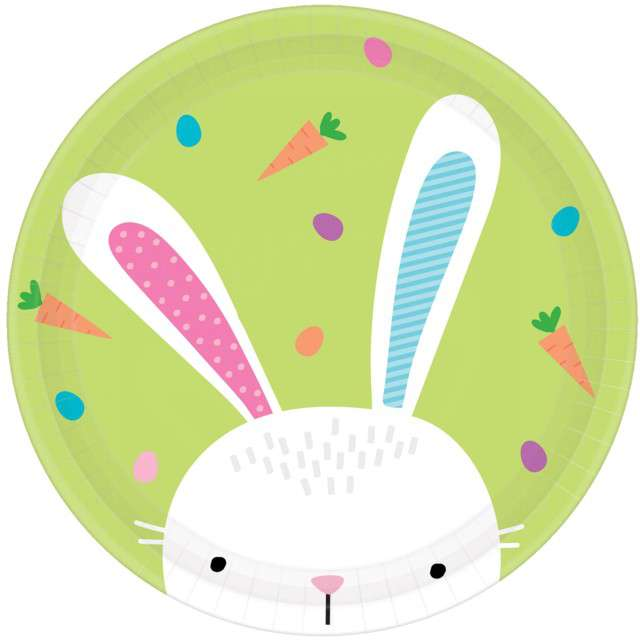 """Talerzyki papierowe """"Zajączek - Hello Bunny"""", AMSCAN, 23 cm, 8 szt"""