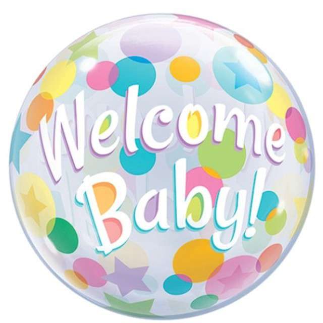 "Balon foliowy ""Welcome Baby - Kolorowe Grochy"", Qualatex Bubbles, 22"""