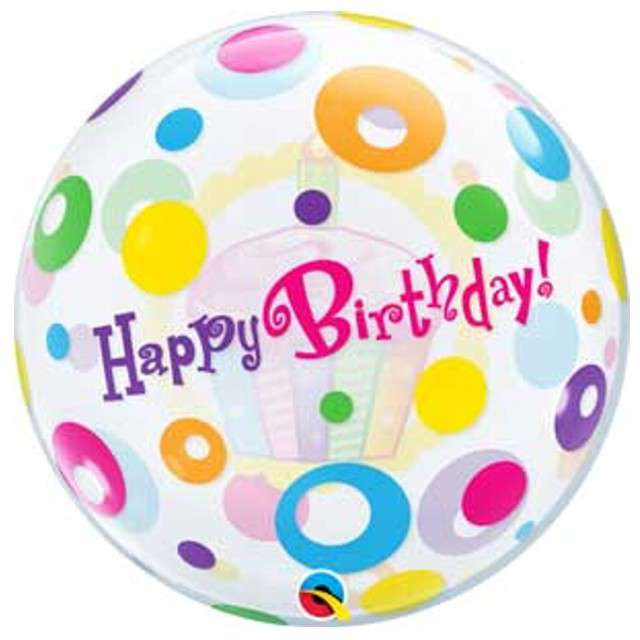 "Balon foliowy ""Happy Birthday"", Qualatex Bubbles, 22"""