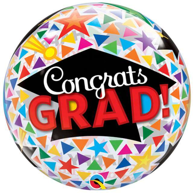 Balon foliowy Congrats Grad Caps Qualatex Bubbles 22